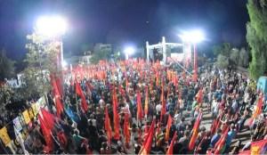 #vidéo #Grèce : impressionnant meeting de la jeunesse à l'appel du parti communiste grec