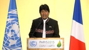 Déclaration d'EVO MORALES, président bolivien, à la COP 21 : J'AIME L'HUMANITE ET LA TERRE-MERE, JE COMBATS LE CAPITALISME !