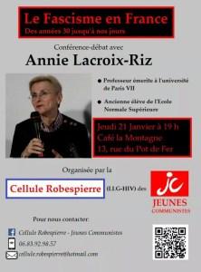 Le Fascisme en France – conférence d'Annie Lacroix-Riz  [21 janvier 2016 – Paris]