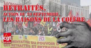 29 septembre, les retraités dans la rue contre la baisse des pensions de retraites ! 1 million de retraités pauvres !!