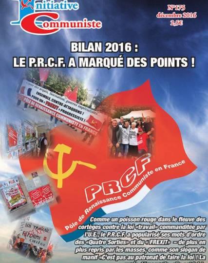 Une- mensuel - initiative communiste -175 - décembre 2016