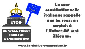 La cour constitutionnelle italienne rappelle que les cours en anglais à l'université sont illégaux.
