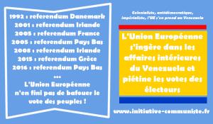 L'Union Européenne s'ingère dans les affaires intérieures du Venezuela et piétine les votes des électeurs