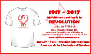1917-2017 : affichez votre soutien à la Révolution avec les Tshirt des JRCF ! #fetedelhuma