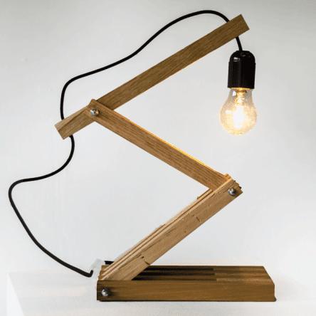Lampe Accordéon en bois recyclé