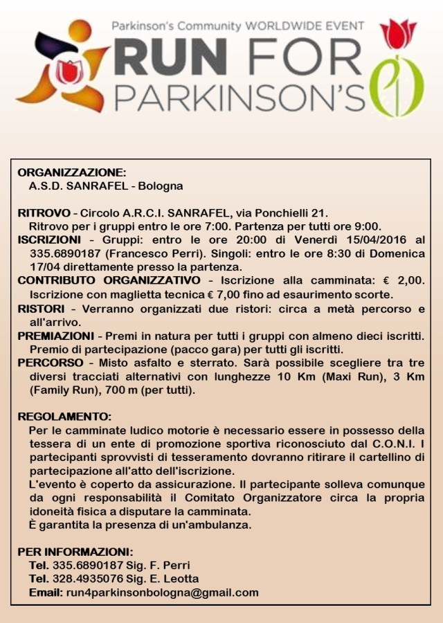Run for Parkinson's 2016 a Bologna