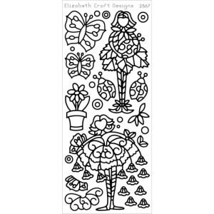 Flower Cuties 2 Peel-Off Stickers – Black