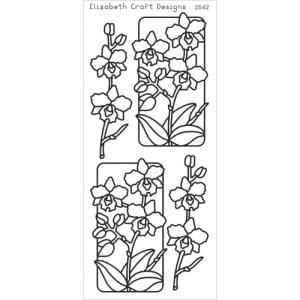 Flowers In Frames 3 Peel-Off Stickers – Black