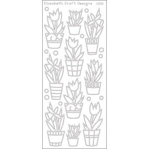 Flowers In Pot Peel Off Stickers – Silver
