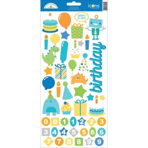 Hip Hip Hooray Cardstock Stickers 6″X13″ – Icons