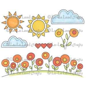 La-La Land Cling Mount Rubber Stamps – Sunny Day Background Elements