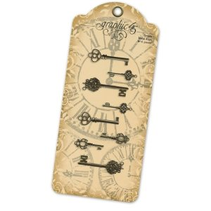 Staples Ornate Metal Keys 1.375″ To 2.125″ 8/Pkg – Antique Brass