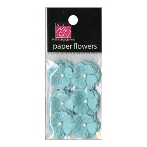 Vintage Marketplace Layered Paper Flowers .75″ 6/Pkg Blue