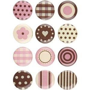 Jumbo Pebble Brads, Pink/Brown