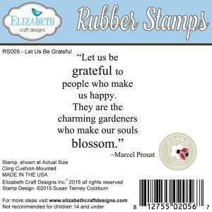 Elizabeth Craft Designs Cling Stamps, Let Us Be Grateful