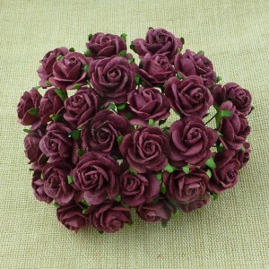 Wild Orchid Crafts Burgundy Mulberry Paper Open Roses