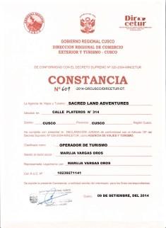 constancia de autorizacion para la agencia de viajes y turismo inka jungle treks