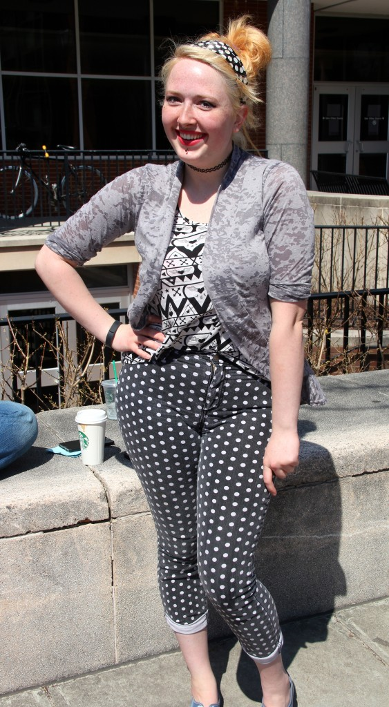 Nadine Lampton, Photography major.  Wearing clothing from Forever 21 and thrift shops.