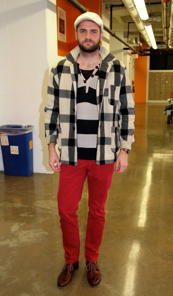 Alex Kreher, Film major.  Wearing a secondhand shirt from Berlin, a secondhand jacket from Portland, Maine, red pants from Tommy Hilfiger and his friend's shoes.