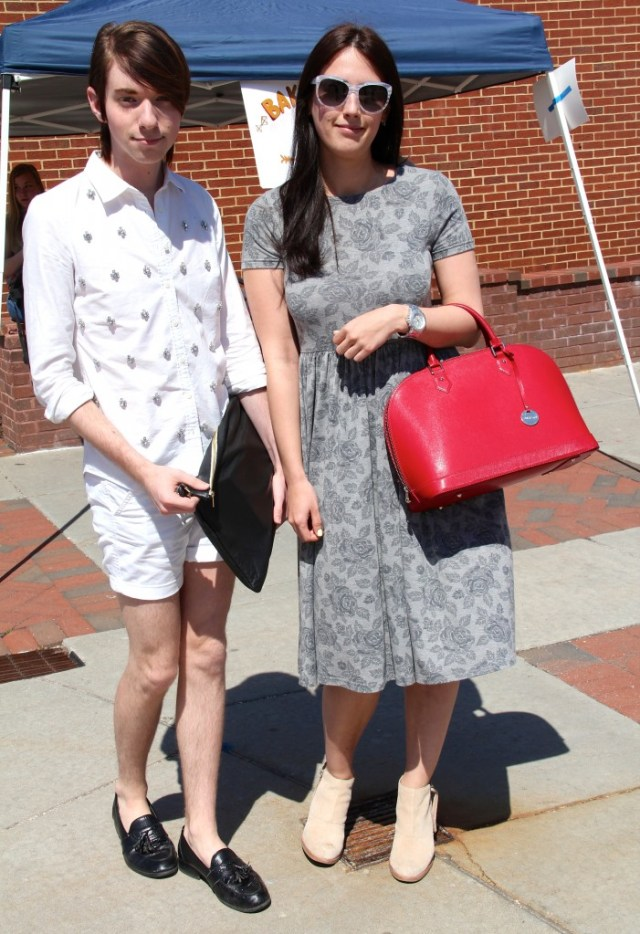 Lee Collie, Fashion Merchandising major, wearing a J Crew shirt and shorts, Macy's shoes, and an American Apparel bag.   Anna Ivanytska, Fashion Merchandising major, wearing an ASOS dress, Dolce Vita shoes, Pulicati bag, and D&G sunglasses.