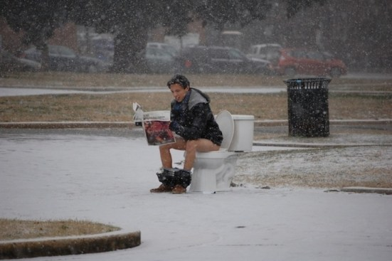 """""""Untitled,"""" – (This piece was one from Nicanor's freshman year. Although it lends itself to the power of this performance done in Monroe Park, he mentioned that the snow was an unplanned part of the photo project. )"""