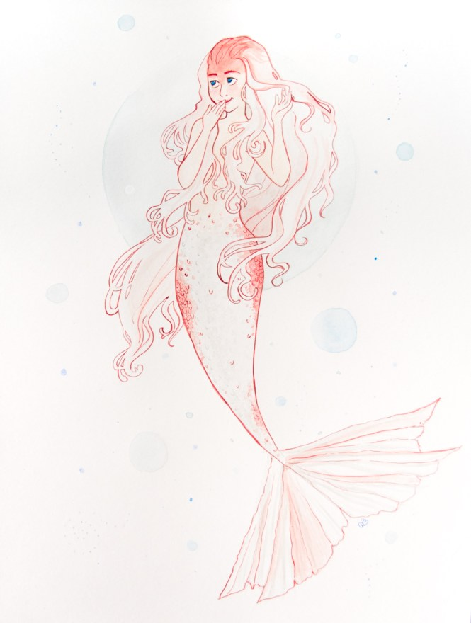 52 Week Illustration Challenge mermaid swimming goldfish water