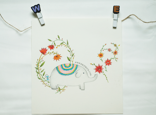 Baby elephant illustration done with Faber Castell polychromos colored pencil on Stonehenge paper by Inkstruck