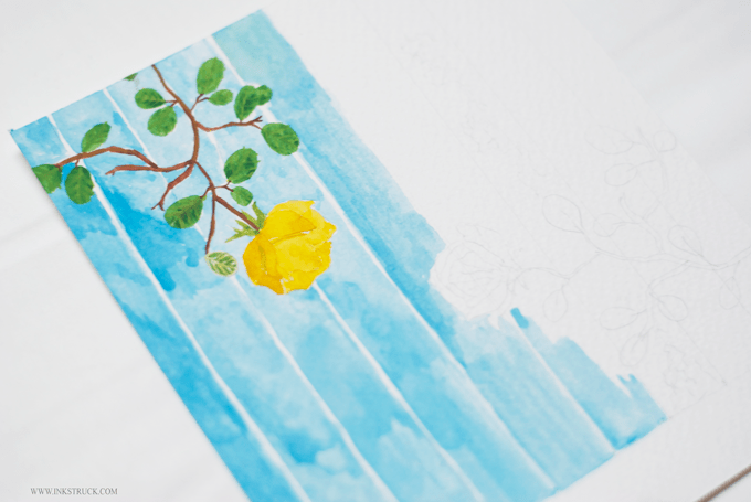 The yellow rose original illustration using Winsor&Newton cowman watercolors on Daler-Rowey cold pressed paper by Inkstruck