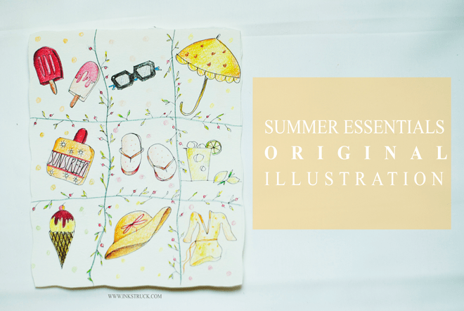 summer essentials original illustration by inkstruck done with faber cast ell polychromos