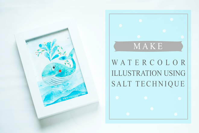 watercolor illustration using salt technique as part of watercolor tools,tips and tricks