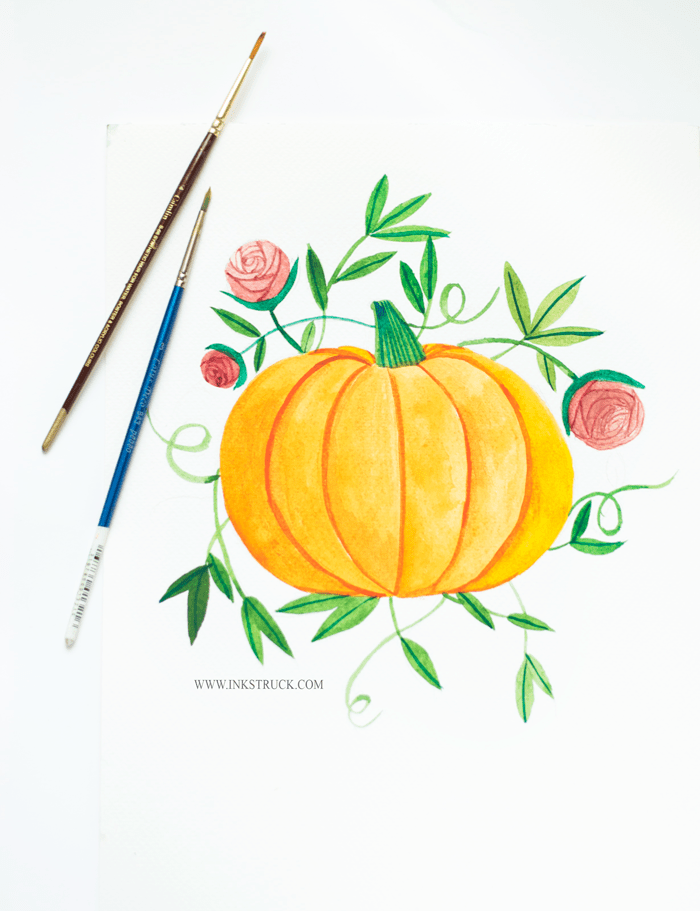 vintage watercolor pumpkin illustration