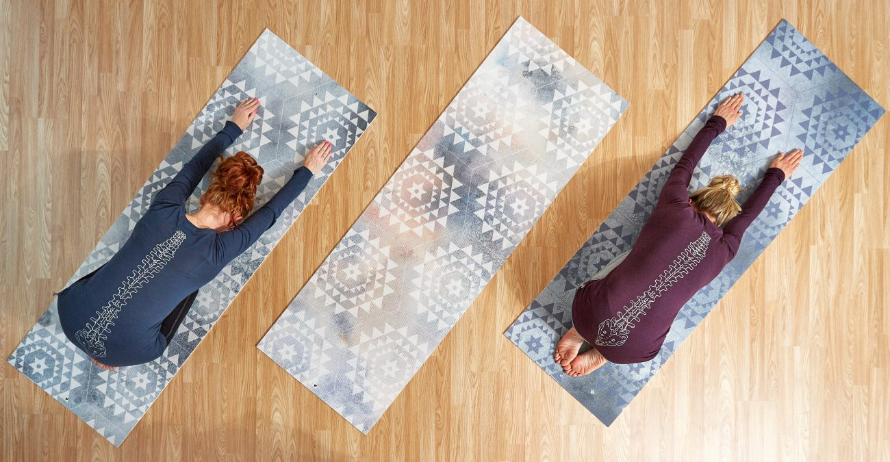 Watercolor themed yoga and pilates mats for Ria Slade of B.Y.O.M in collaboration with Too Wordy - www.inkstruck.com