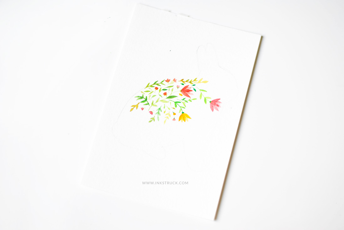 floral watercolor silhouette tutorial
