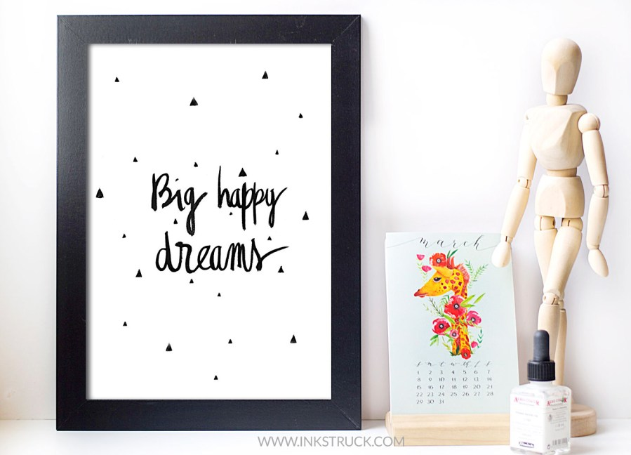 office decor free printable in modern brush lettering by inkstruck studio