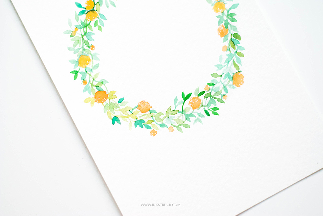 make watercolor flower wreath-Inkstruck Studio