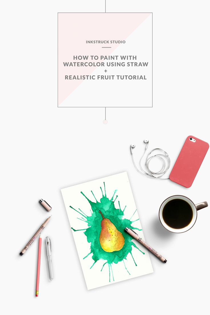 Learn how to paint using watercolors with a straw and a further tutorial on realistic painting by Zakkiya hamza of Inkstruck Studio.