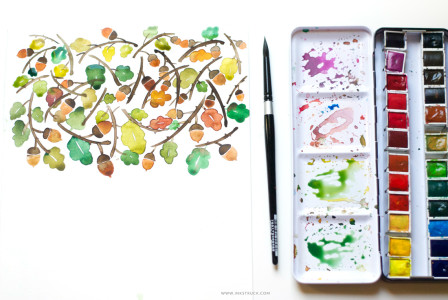 Learn how to create a watercolor fall painting in warm hues and different elements like twigs,leaves and acorns in this tutorial by Zakkiya Hamza of Inkstruck Studio.