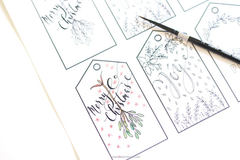 download free printable christmas gift tags that you can color by zakkiya hamza of inkstruck studio
