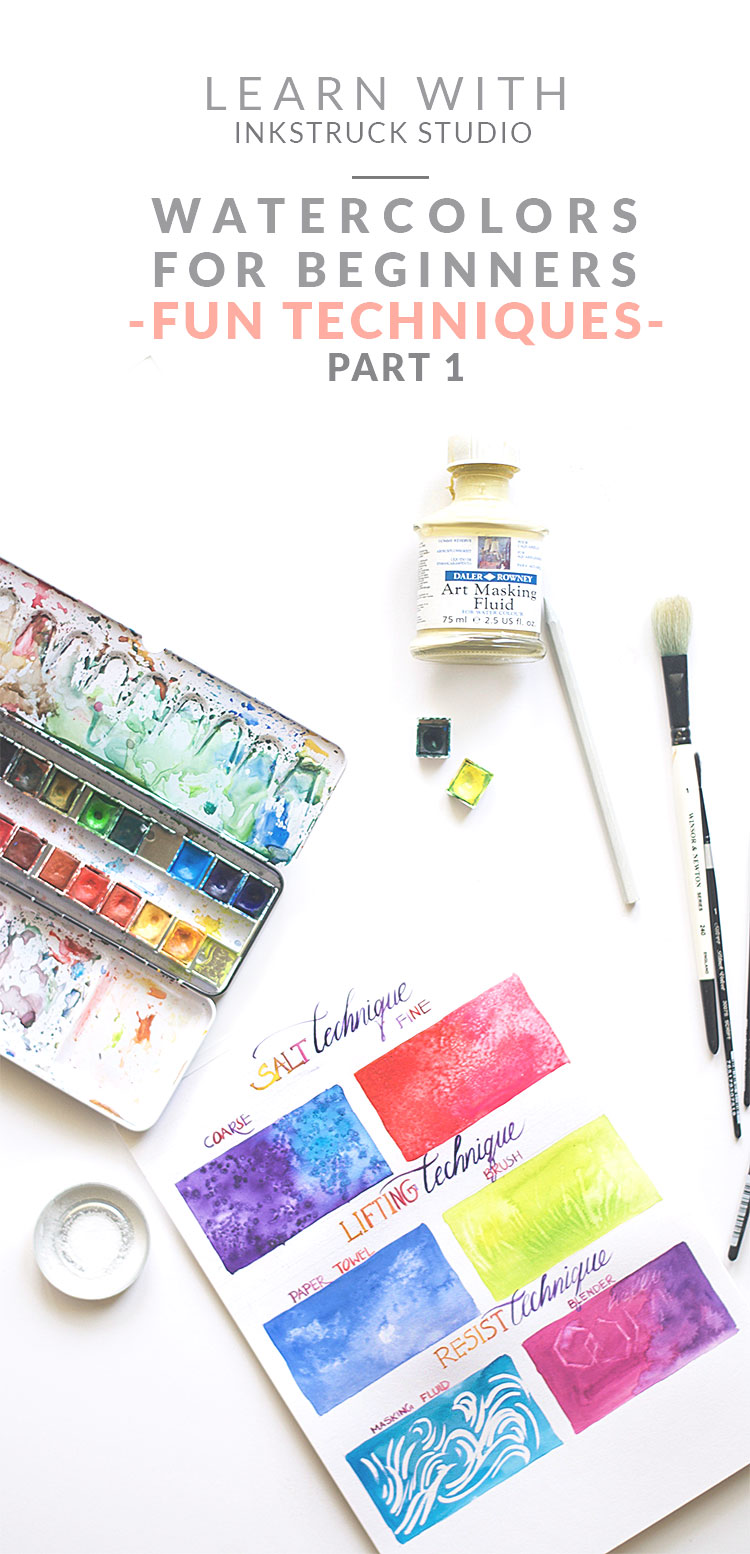 Easy beginner watercolor techniques inkstruck studio for How to use watercolors for beginners