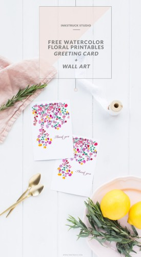 Download free watercolor floral printables-Greeting card and wall art   Inkstruck Studio