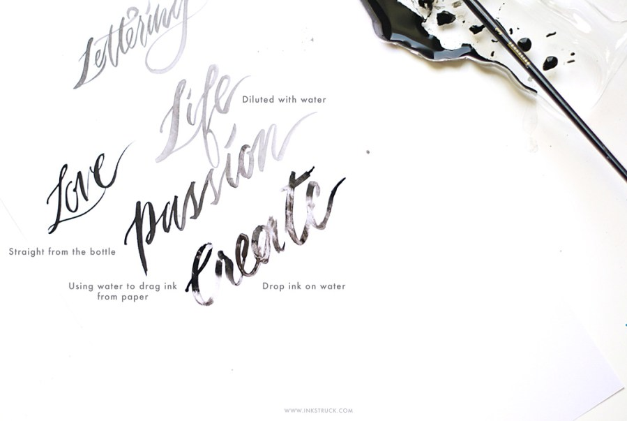 Painting and lettering techniques with sumi ink- Inkstruck Studio