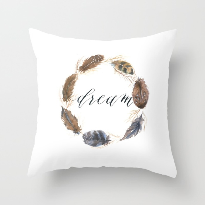 Watercolor feather wreath pillow-Inkstruck Studio