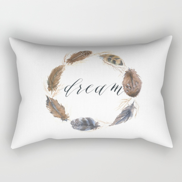 Watercolor feather wreath rectangular pillow-Inkstruck Studio