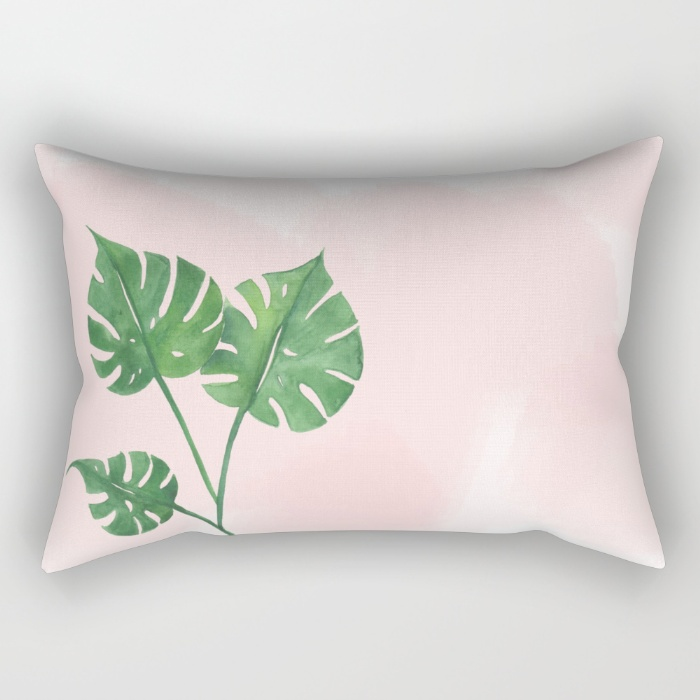 Watercolor tropical leaf pillow | Inkstruck Studio