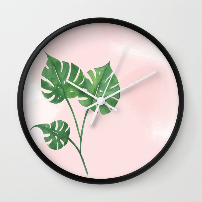 Watercolor tropical wall clock | Inkstruck Studio