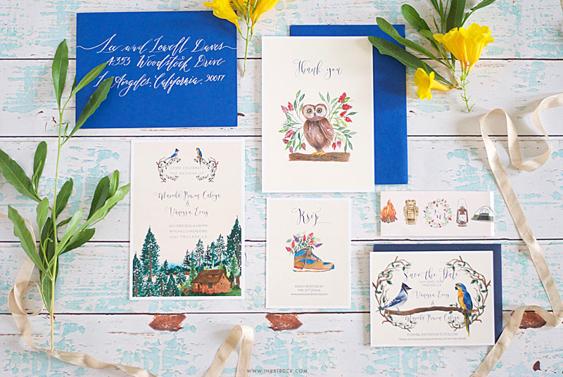 Watercolor alpine wedding invitation - Zakkiya Hamza | Inkstruck Studio