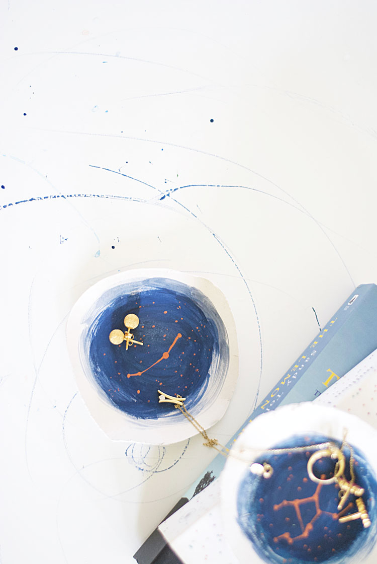 DIY constellation art on air dry clay trinket dishes-Inkstruck Studio