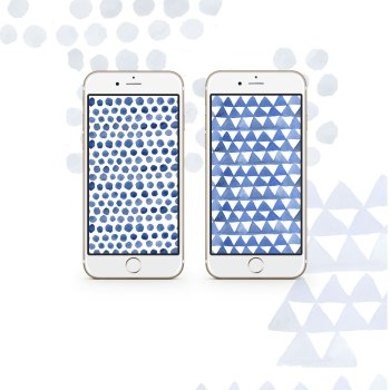 Free indigo watercolor pattern wallpapers for iPhone | Inkstruck Studio