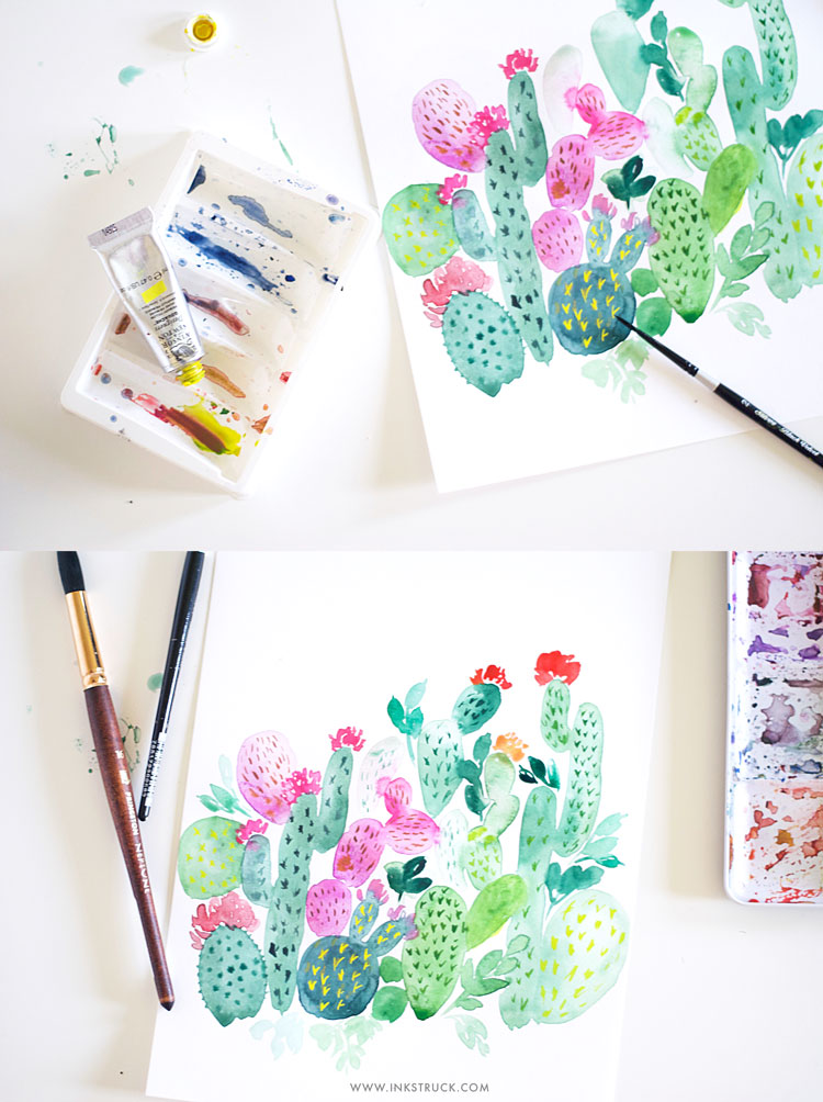 Watercolor cactus painting tutorial | Inkstruck Studio