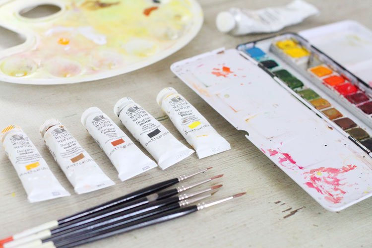 Gouache and Watercolor Bird Painting Tutorial: Supplies